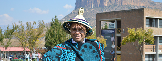Description: Prof Petersen with Basotho hat and blanket Tags: Prof Petersen with Basotho hat and blanket