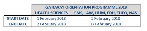 Description: Gateway Orientation programme 2018 Tags: Gateway Orientation programme 2018