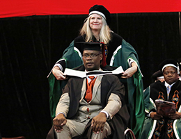 Description: 1. EMS 2018 Tags: Bloemfontein graduation ceremonies, Dr Khotso Mokhele, Prof Francis Petersen, Dr Anthony Turton, UFS Graduations, Hannes van Wyk, Kwela, David Abbey, Zola Valashiya, Chantelle Pretorius