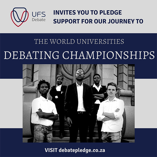 Description: Debate society read more Tags: UFS Debate Society, World Championships Pledge, Tshiamo Malatji, Student Rights Dialogue, Global Politics Seminar, Department of Basic Education