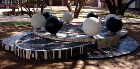Sculptures on campus made by BA Fine Arts students