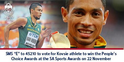 """SMS """"E"""" to 45210 to vote for Kovsie athlete"""